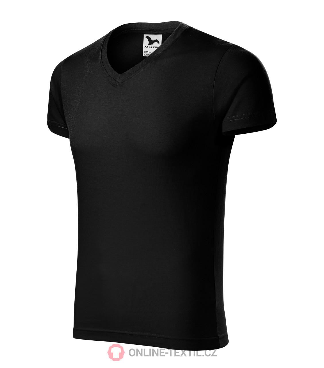 6f32a2c688ab ADLER CZECH Priliehavé pánské tričko Slim Fit V-neck vyššej gramáže ...