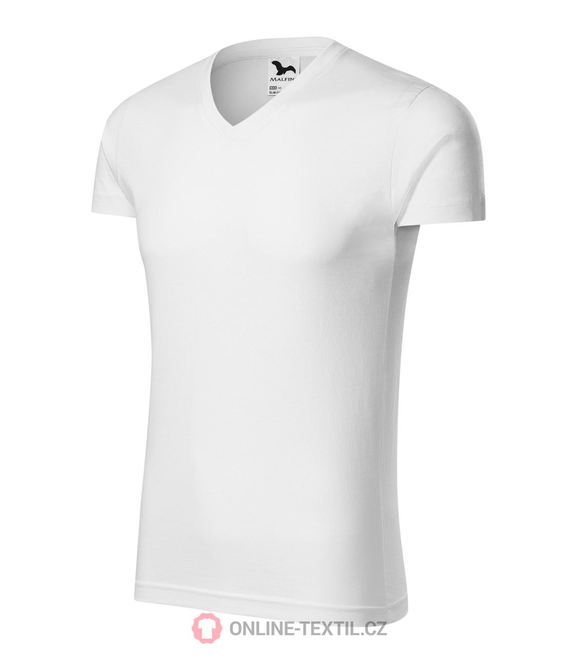 5ac6cf09caae ADLER CZECH Priliehavé pánské tričko Slim Fit V-neck vyššej gramáže ...