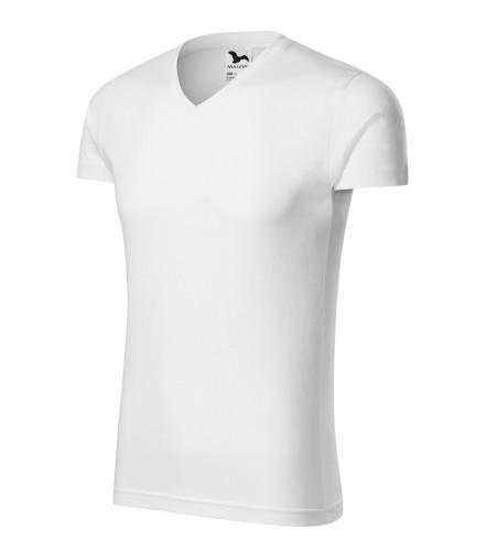 Priliehavé pánské tričko Slim Fit V-neck vyššej gramáže