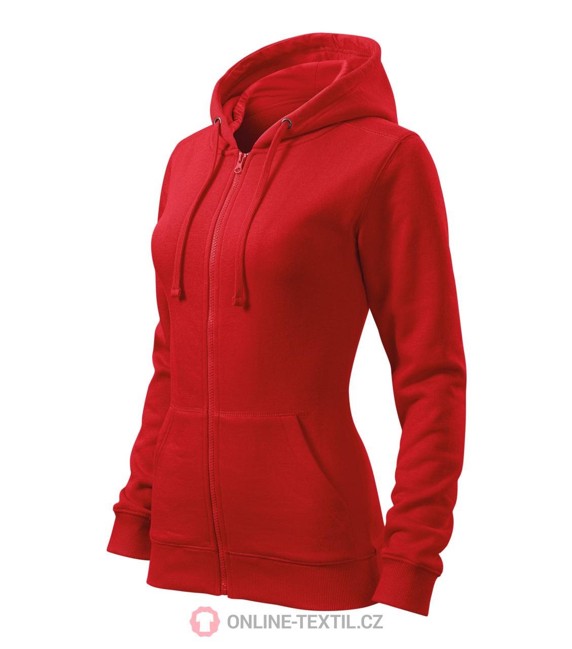 24ce597aa ADLER CZECH Dámska mikina Trendy Zipper s kapucňou 411 - červená z ...