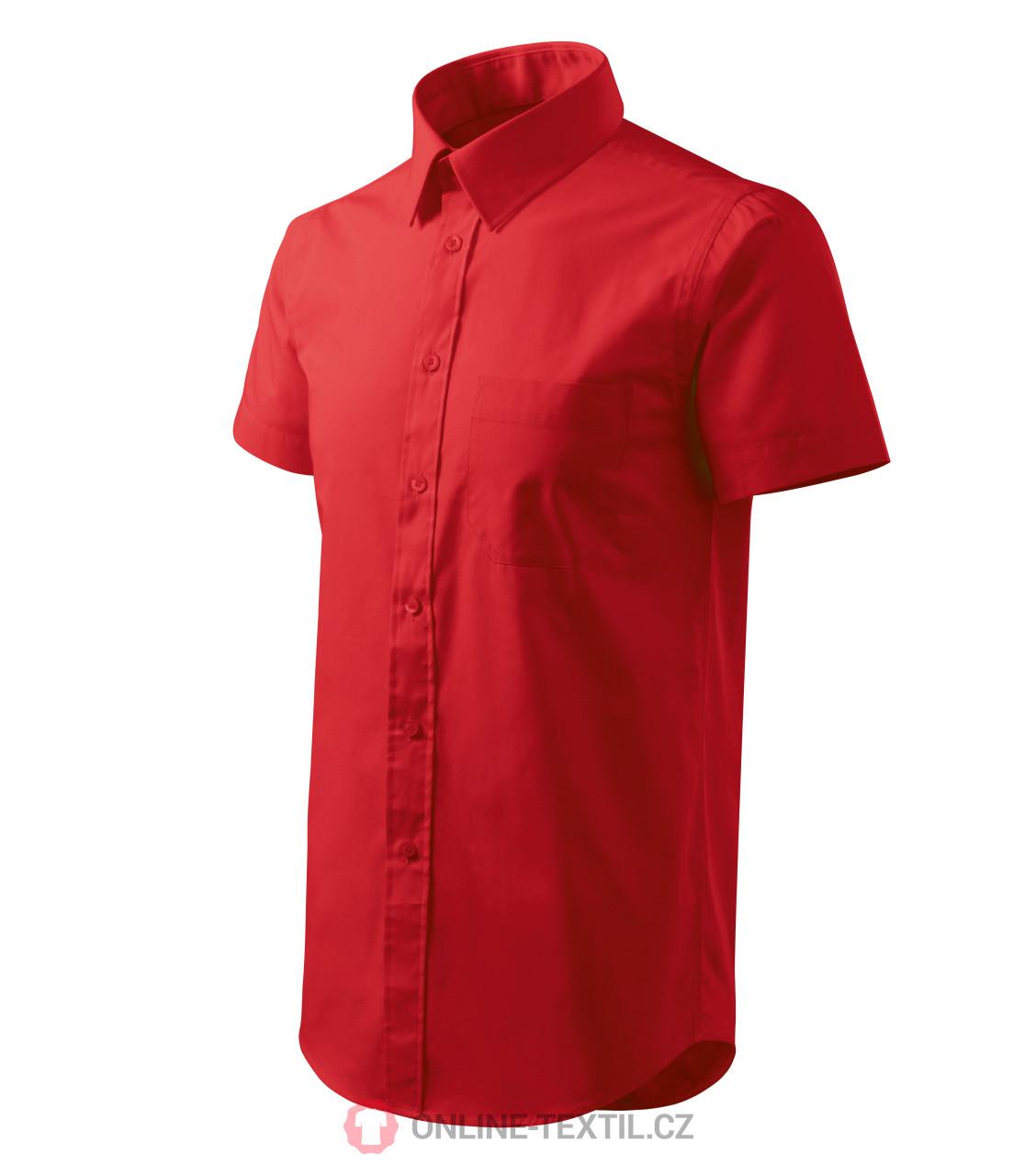 cb5d122f56c7 ADLER CZECH Pánska košeľa Chic s krátkym rukávom 207 - červená z ...